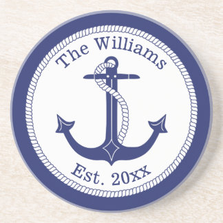 Nautical Navy Blue Anchor Family Name Coaster