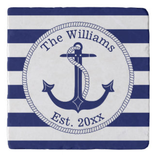 Nautical Navy Blue Anchor Family Name Trivet