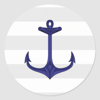 Nautical Navy Blue Anchor Gray White Stripes Classic Round Sticker