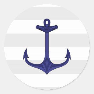 Nautical Navy Blue Anchor Gray White Stripes Round Sticker