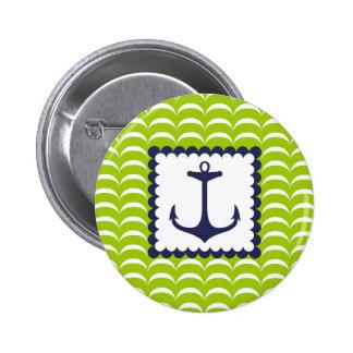 Nautical Navy Blue Anchor Green Waves Pattern 6 Cm Round Badge