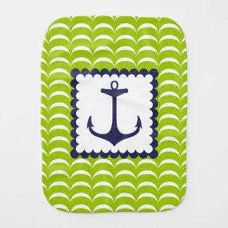 Nautical Navy Blue Anchor Green Waves Pattern Burp Cloth