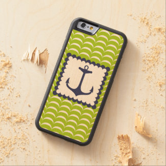 Nautical Navy Blue Anchor Green Waves Pattern Carved Maple iPhone 6 Bumper Case