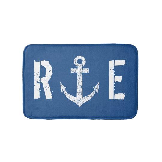 Nautical navy blue anchor monogram bath mat rug