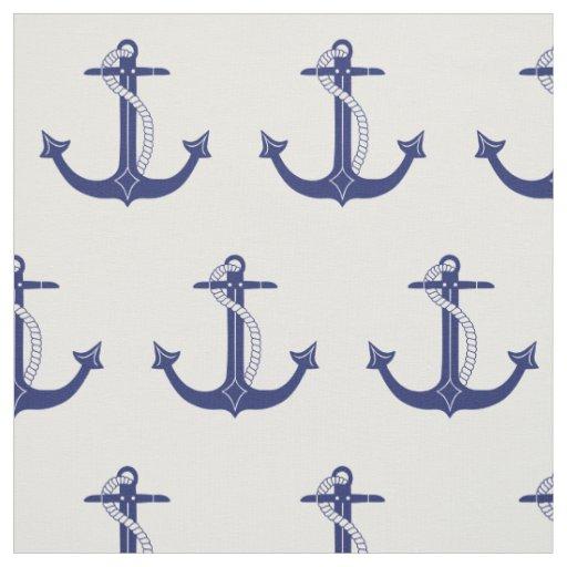 Art Décor: Nautical Navy Blue Anchor Pattern Fabric