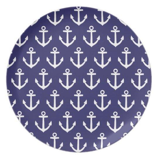 Nautical Navy Blue Anchor Pattern Plate