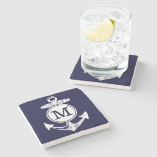 Nautical Navy Blue Anchor Pattern Stone Coaster