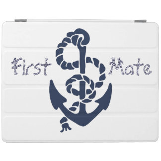 Nautical Navy Blue Anchor Rope Font iPad Cover