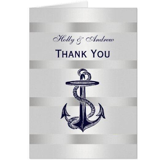 Nautical Navy Blue Anchor Silver White V Thank