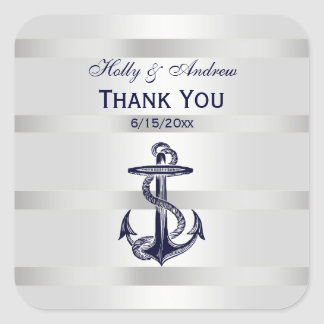 Nautical Navy Blue Anchor SQ Envelope Seals TY Square Sticker