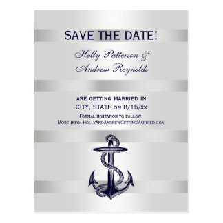 Nautical Navy Blue Anchor White BG V Save the Date Postcard