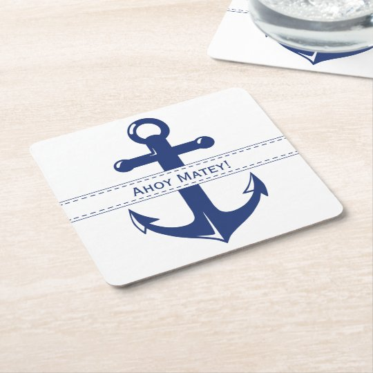 Nautical Navy Blue Anchor with Customisable Text Square