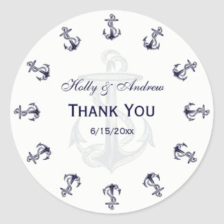 Nautical Navy Blue Anchors R TY Envelope Seal Round Sticker