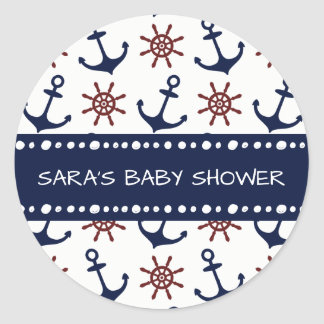 Nautical Navy Blue and red Anchor rudder pattern Round Sticker