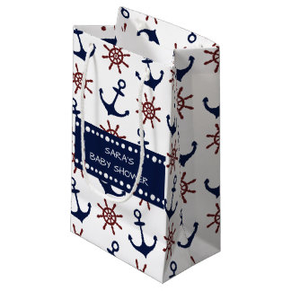 Nautical Navy Blue and red Anchor rudder pattern Small Gift Bag