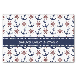 Nautical Navy Blue and red Anchor rudder pattern Tissue Paper
