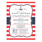 Nautical Navy Blue and Red Baby Shower Invitation Postcard