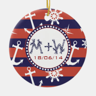 Nautical navy blue and red stripes save the date round ceramic decoration
