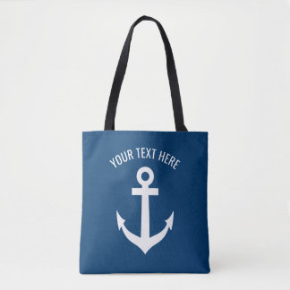 Nautical navy blue and white boat anchor custom tote bag