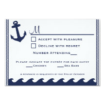 Nautical navy blue and white rsvp 2 menu choice personalised announcements