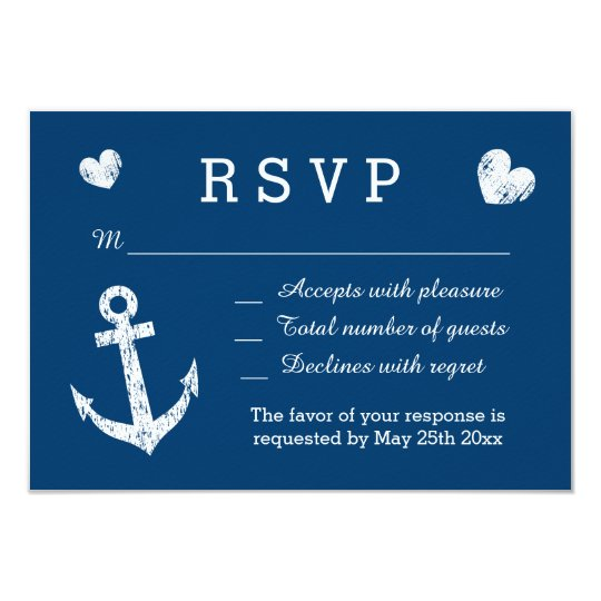 Nautical navy blue and white RSVP wedding cards