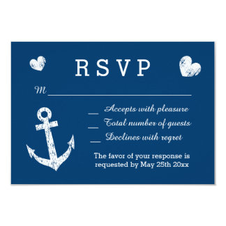 Nautical navy blue and white RSVP wedding cards 9 Cm X 13 Cm Invitation Card
