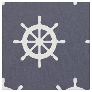 Nautical navy blue and white ship wheel pattern fabric