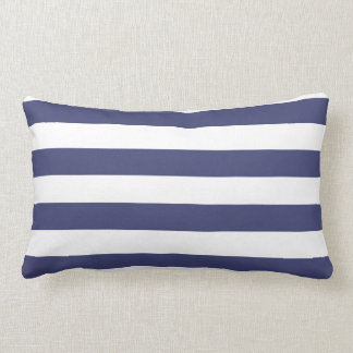 Nautical Navy Blue and White Striped Lumbar Pillow