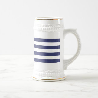 Nautical Navy Blue and White Stripes Beer Steins