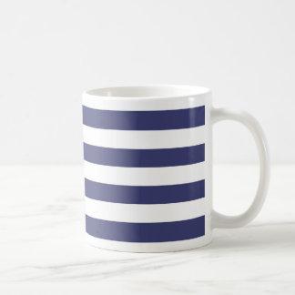 Nautical Navy Blue and White Stripes Basic White Mug