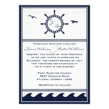 Nautical navy blue and white wedding invitations