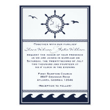 Nautical navy blue and white wedding invitations 13 cm x 18 cm invitation card