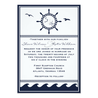Nautical navy blue and white wedding invitations