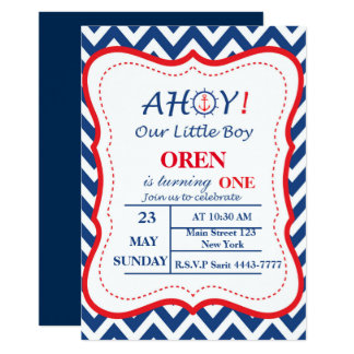 Nautical Navy Blue Birthday Invitation AHOY!!