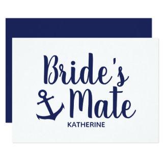Nautical navy blue bride's mate anchor bridesmaid card