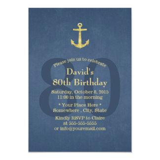 Nautical Navy Blue Gold Anchor 80th Birthday Party 13 Cm X 18 Cm Invitation Card