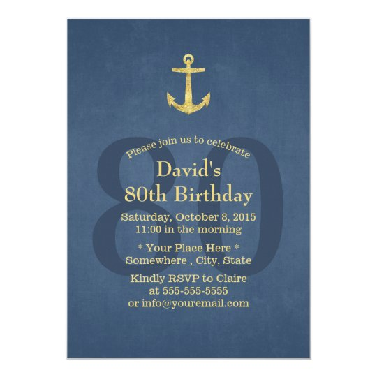 Nautical Navy Blue Gold Anchor 80th Birthday Party