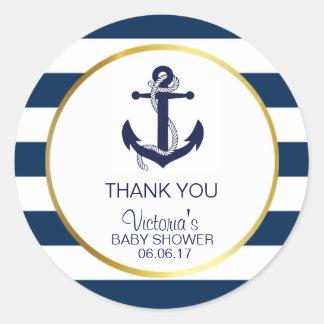 Nautical Navy Blue Gold Stripes Anchor Baby Shower Round Sticker