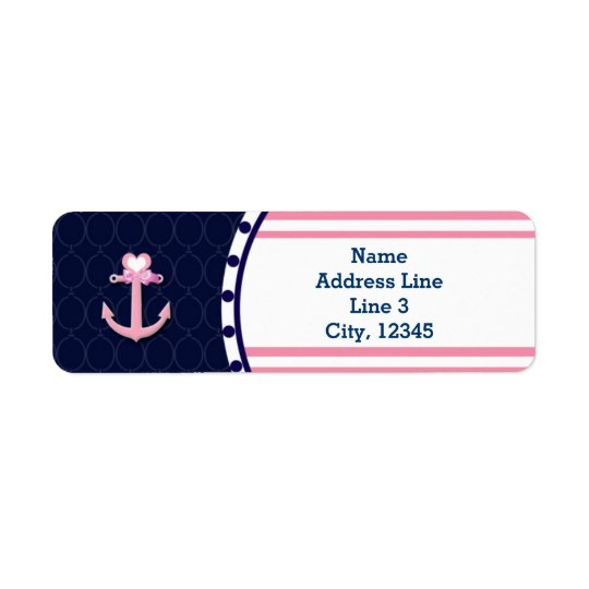 Nautical Navy Blue Pink Baby Shower Girl Labels