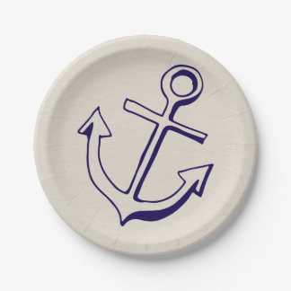 Nautical Navy Blue Ship Anchor Tan Wedding Paper Plate