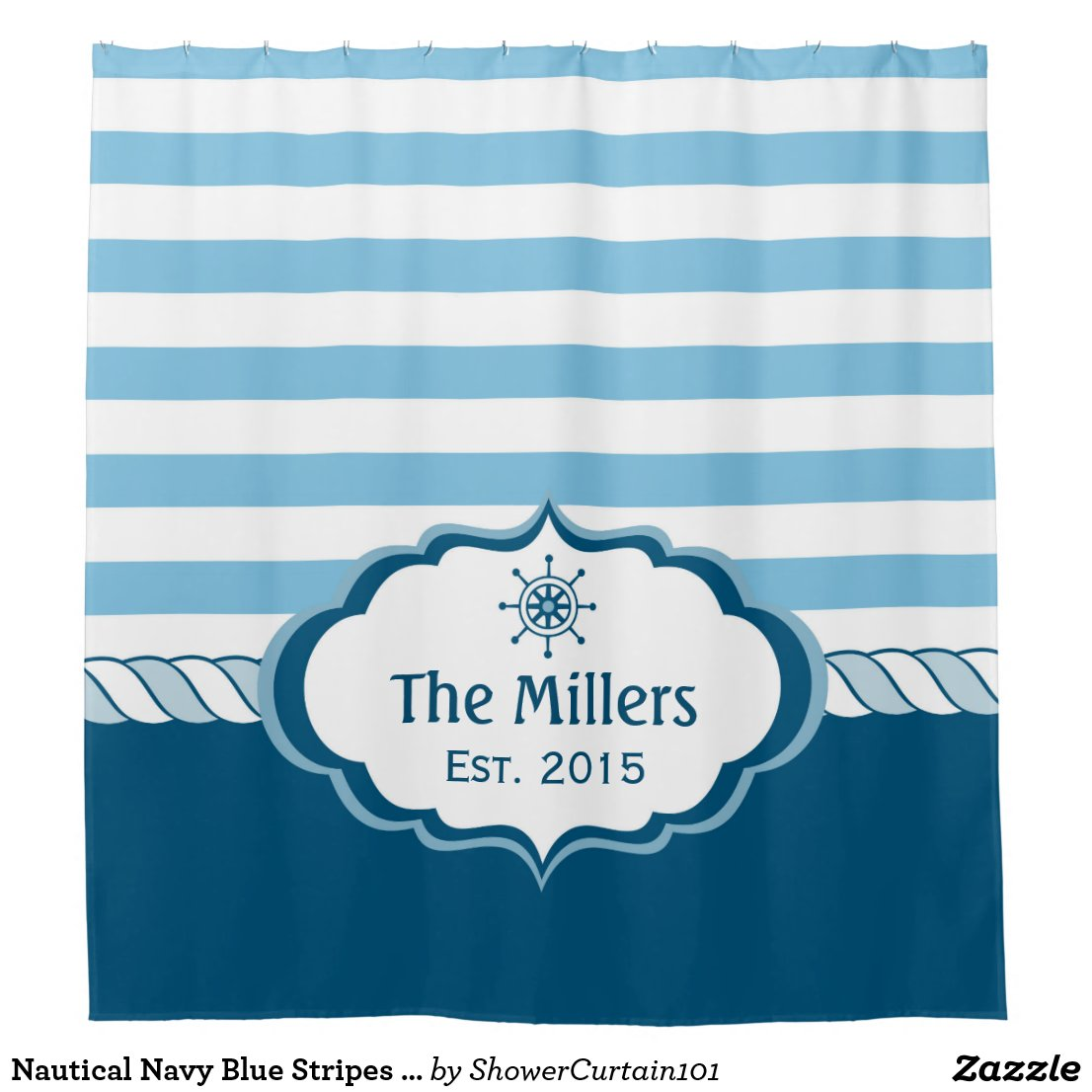 Nautical Navy Blue Stripes Helm Logo Personalised Shower Curtain