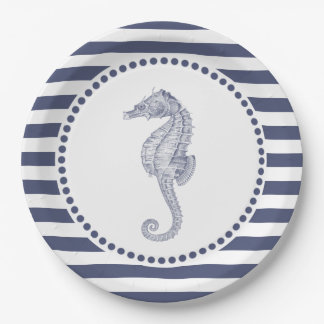 Nautical Navy Blue Stripes | Seahorse Paper Plate