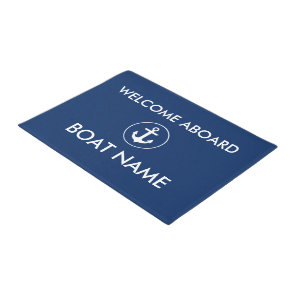 Nautical Navy Blue Welcome Boat Name Door Mat