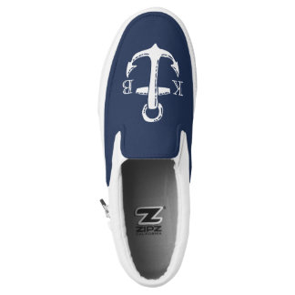 Nautical Navy Blue & White Anchor Initial Monogram Printed Shoes