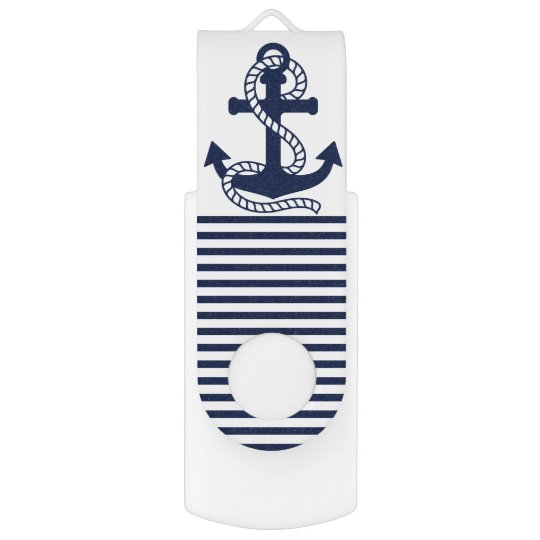 Nautical Navy Blue/White Anchor USB Flash Drive