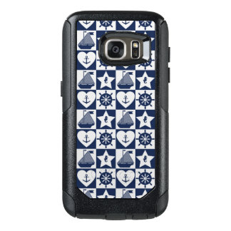 Nautical navy blue white checkered OtterBox samsung galaxy s7 case