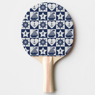 Nautical navy blue white checkered ping pong paddle