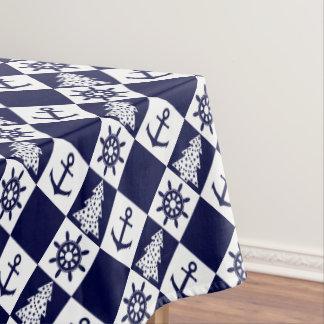 Nautical navy blue white checkered tablecloth