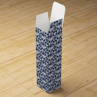 Nautical navy blue white checkered wine gift box