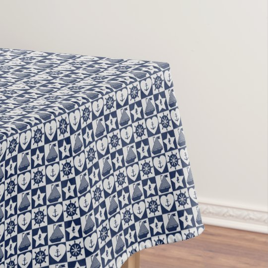 Nautical navy blue white chequered tablecloth
